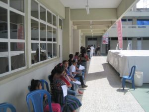 Patients waiting to see medical personnel.